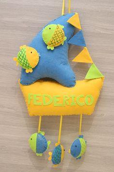 Fiocco nascita Federico barchetta con pesciolini colorati
