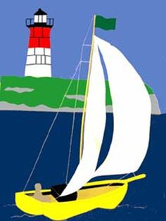Decorative House Flags - House of Flags MA - # 321 Sailboat Lighthouse