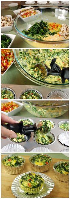 cookglee recipe pictures: Individual Veggie Quiche Cups To-Go(Baking Treats Breakfast Recipes) Vegetarian Recipes, Cooking Recipes, Healthy Recipes, Free Recipes, Easy Recipes, Muffin Recipes, Quiche Recipes, Delicious Recipes, Quiche Cups