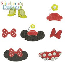 Minnie Mouse Parts filled embroidery design.