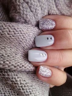 Ombre and polka dot nails never go out of fashion, the techniques are easy, so you can make such a manicure yourself, and the nails look very sweet and feminine. Using sparkling nail polishes to make dots is a cool idea for a winter affair. For the brides who wanna have fun and sweet we advice cutie nail designs like Christmas patterns, cable knit, snowflakes, snowballs, penguins or Rudolph deer on the nails, enjoy your pretty wedding with colorful nails!