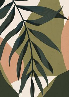 Tropical Leaf- Abstract Art Framed Art Print by thindesign Decoration Entree, Decoration Crafts, Painted Leaves, Grafik Design, Minimalist Art, Aesthetic Art, Botanical Art, Aesthetic Wallpapers, Line Art