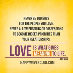 """""""Never be too busy for the people you love. Never allow pursuits or possessions to become bigger priorities than your relationships. Love is what gives meaning to life."""" -Dave Willis"""