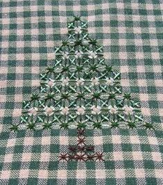 """~ Hand Embroidery on Gingham - Christmas Trees ~Better known as """"Chicken Scratch""""...."""
