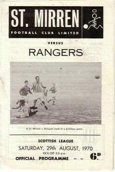 St Mirren 0 Rangers 0 in Aug 1970 at Love Street. The programme cover #ScotDiv1