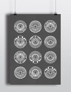 LE Geometric Dark Grey and White Screen Print One Of A Kind