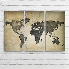 Navy world map wall art canvas world map print in by allymacdesign we love world maps now this popular world map wall art can be purchased as a stunning triptych printed on three separate canvases which is sure to make a gumiabroncs Images