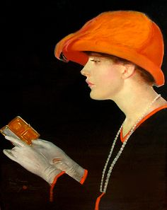 Penrhyn Stanlaws ~ A Stylish Fadeaway Girl, 1924, pastel on illustration board, Collier's cover art for October, 1924