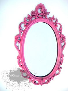 Hollywood Regency Vintage mirror: Hot pink ornate baroque mirror wedding decor pink home decor. $155.00, via Etsy.