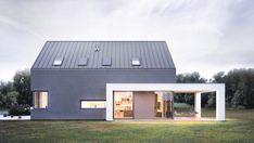 nowoczesna stodoła mały dom minimalistyczny czarny biały z garażem z tarasem