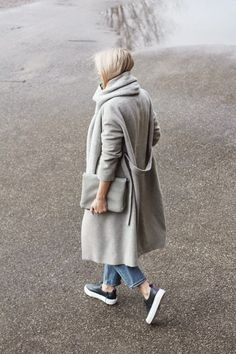 Lovely grey fall coat.