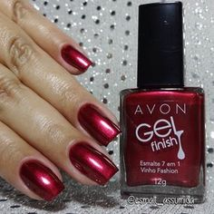Gel Manicure At Home, Red Manicure, Manicure Colors, Red Nails, Nail Colors, Avon Nail Polish, Avon Nails, Dark Nail Designs, Nail Designs Spring