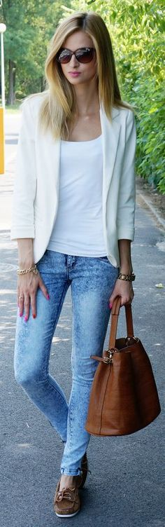 White&brown&jeans  by Beauty - Fashion - Shopping