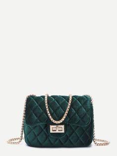 f6ebdd08dda Dark Green Velvet Twistlock Closure Quilted Chain Bag Green Handbag