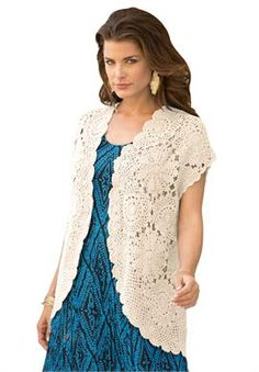 Crocheted Lace Vest | Plus Size Cardigans | Roamans