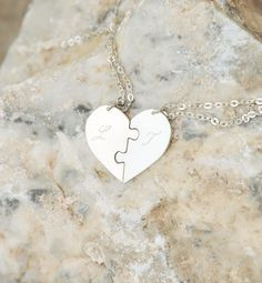 Set of 2 sterling silver designed and made by 3 MEMBERS OF springFineArt. 2 Sterling silver chain and clasp Sterling silver heart puzzle 1 and