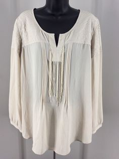 Chico's Size 2 Beaded Embroidered Sheer Blouse Fringe 3/4 Sleeves #Chicos #Blouse #Casual
