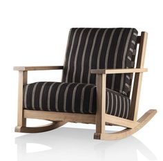 Lopez Rocking Chair | Dennis Miller Associates. Webbed back and deck with nailhead detail. Loose boxed seat & back cushions. Exposed wood frame in standard and premium Christian Grevstad finishes.