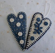 Blue and white felt hearts
