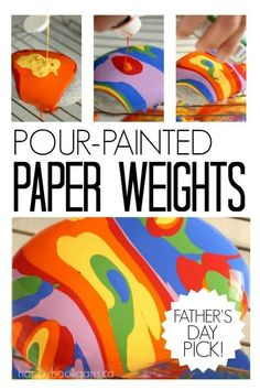 Pour-Painted Paper Weights!  This process is so easy using just rocks and paint, but it's downright mesmerizing and addictive!  Great gift for kids to make for Father's Day, Mother's Day, Christmas or birthdays! - Happy Hooligans