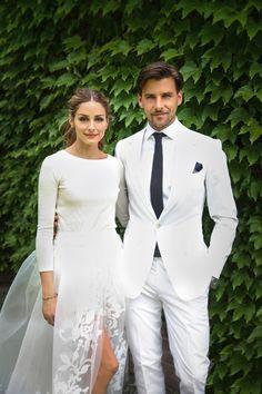Sweater & skirt over shorts. Unexpected casual bride & groom style. Carolina Herrera.