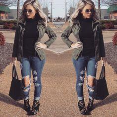 Fall/Winter outfit. Black top / Combat Jacket- Olive / Beach Bum Jeans- Medium Wash / High heels @fashionnova by &sassafrass