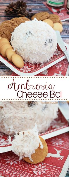 Ambrosia Cheese Ball - only 4 ingredients! Cream cheese, strawberry fruit spread, ginger, and coconut - spread on gingersnaps and vanilla wafers for an awesome holiday appetizer! #EasyHolidayEats #ad