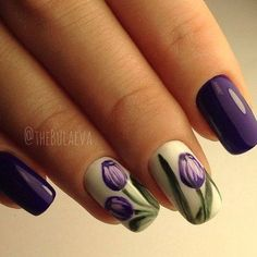 Ladies, how about trying tulip nails? Spring Nail Art, Nail Designs Spring, Cute Nail Designs, Spring Nails, Summer Nails, Autumn Nails, Fancy Nails, Cute Nails, Pretty Nails