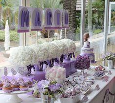 Decoración comunión candy bar lila