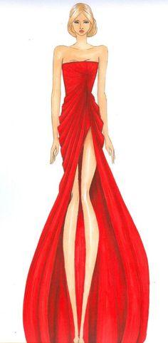 Elie Saab red dress illustration   http://www.pinterest.com/disavoia11/