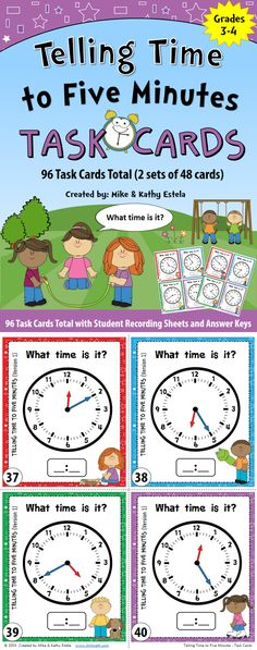 Telling Time Task Cards {To Five Minutes} $