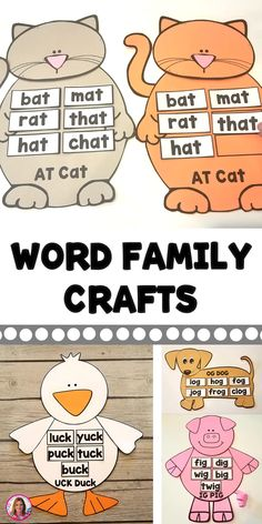Word Family and Vowel Team Crafts Word Family Activities, Preschool Learning Activities, Kids Learning, Preschool Journals, Rhyming Activities, Preschool Themes, Preschool Printables, Halloween Activities, Jolly Phonics