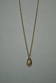 Signed Krementz Gold Filled Faux Pearl Necklace by VintagePuritan