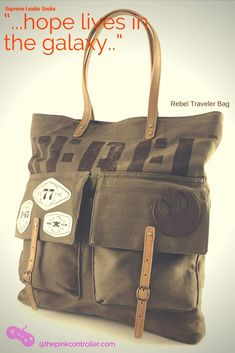 Durable canvas, with faux leather trim and big enough to hold all the essentials: Blaster, Light Saber.....