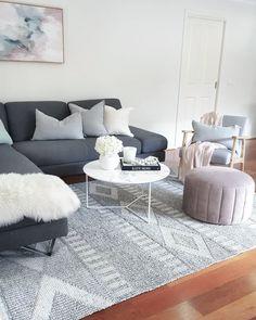 Bahati Marbled Grey Tribal Flatweave Rug - Miss Amara (AU) Living Room Colors, Living Room Grey, Rugs In Living Room, Interior Design Living Room, Home And Living, Living Room Designs, Living Room Decor, Dark Grey Couches, Dark Grey Rug