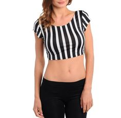 Sexy Black White Stripe Stretchy Fitted Festival Glam Rock racer Crop Top New #shopjady #CropTop #Clubwear