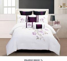 9 Piece Cal King Scarlett Purple and White Comforter Set