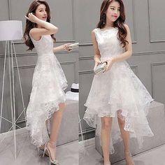 New White Party Bubble Bottoming Dress Women Sleeveless High Low Hem Slim Prom Trendy Dresses, Cute Dresses, Beautiful Dresses, Short Dresses, Fashion Dresses, Prom Dresses, White Party Dresses, Dress Party, Short Frocks