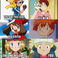 Ash Ketchum, Misty, May, Dawn, Serena and Delia ♡ I give good credit to whoever made this