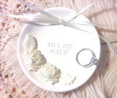 White Peony Chic Wedding Ring Bowl by CupidsAtelier, ,#ringbowl #ringholder #ringpillow #ringbearer #wedding #engagement #gift #custom #etsy #etsyweddings #customize #personalize #peony #white #flower