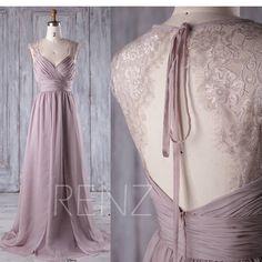 Brautjungfer Kleid Rose grau Chiffon Hochzeit Kleid geraffte