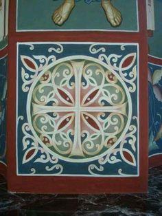 Byzantine Icons, Byzantine Art, Gold Leaf Art, Church Interior, Church Banners, Decorative Borders, Church Design, Orthodox Icons, Sacred Art