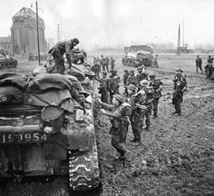 The fighting in the Reichswald wore on and took an incredible toll in both Allied and German casualties. On March 2, 1945, British soldiers prepare to board Kangaroo troop carriers for the assault on the German town of Kervenheim, three miles south of Udem, another key town that had to be taken during the sluggish advance toward the Ruhr.