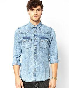Image 1 ofASOS Western Shirt In Long Sleeve With Acid Wash Denim