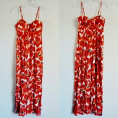 Elle Bright Orange/Red Floral Print Maxi sz S Bra cup front with lingerie detailing, longline bra top style, empire waist, adjustable spaghetti straps, elastic panel at back, faux zipper detail at front. Orange, red, white, green, tropical Hawaiian flower print, perfect for spring and summer. Brand new, never worn. Elle Dresses Maxi