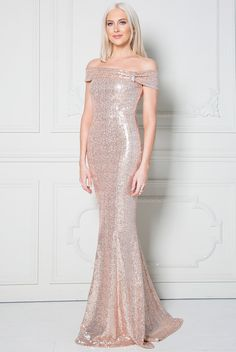5fb21cb3c07 Stephanie Pratt – Bardot Sequin Maxi Dress with Bow Detail – Champagne -  Front - DR1202