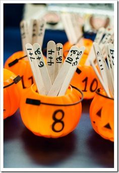 """""""We don't do halloween, but love this idea using other containers!"""" (Halloween Math - addition facts using mini jack-o-lanterns. I love that the popsicle sticks can be reused and put in any seasonal container. Math Classroom, Kindergarten Math, Teaching Math, Preschool, Teaching Ideas, Classroom Ideas, Math Addition, Addition And Subtraction, Addition Facts"""