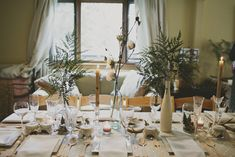 Rustic, Elegant Woodland Themed Baby shower. Fern, cotton blossom, beeswax, milk glass.
