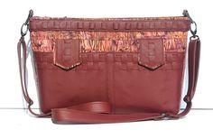 SALE ITEM/ Leather and Batik Crossbody Bag/ Two by LJWengerDesigns
