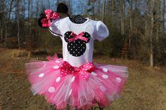 Minnie Mouse Tutu Set - Newborn - Baby Infant Toddler up to size 4T -  Birthday Set. $37.00, via Etsy.